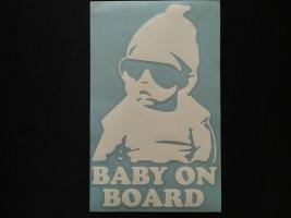 Наклейка на автомобиль Baby on board, белая (h=195 мм, l=120 мм)