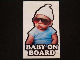 Наклейка на автомобиль Baby on board, цветная (h=205 мм, l=130 мм)