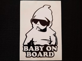 Наклейка на автомобиль Baby on board, черная (h=125 мм, l=85 мм)