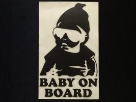Наклейка на автомобиль Baby on board, черная (h=195 мм, l=120 мм)