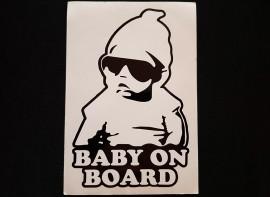 Наклейка на автомобиль Baby on board, черная (h=205 мм, l=140 мм)