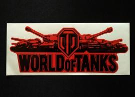 Наклейка на автомобиль World of Tanks, красная (h=80 мм, l=195 мм)