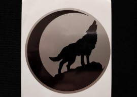 Украина Наклейка на автомобиль Воющий волк и луна, серебристо-черная (h=100 мм, l=100 мм, диаметр 90мм)