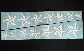 Наклейка на автомобиль Звезды, белые (h1=130 мм, h2=60 мм, l=600 мм)