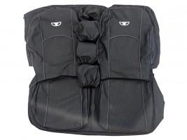 Чехлы автомобильные Daewoo Lanos задние сидения подголовники, с логотипом (черно-серые)