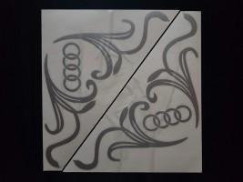 Наклейки на боковые стекла (уголки) - Audi, серебро (h=285 мм, l=330 мм)