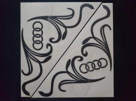 Наклейки на боковые стекла (уголки) - Audi, черные (h=285 мм, l=330 мм)
