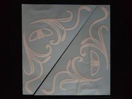 Наклейки на боковые стекла (уголки) - Daewoo, белые (h=285 мм, l=330 мм)