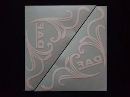 Наклейки на боковые стекла (уголки) - Daf, белые (h=285 мм, l=330 мм)
