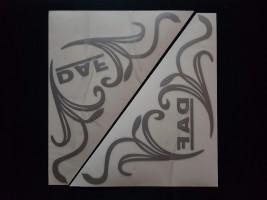 Наклейки на боковые стекла (уголки) - Daf, серебро (h=285 мм, l=330 мм)
