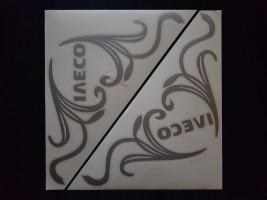 Наклейки на боковые стекла (уголки) - Iveco, серебро (h=285 мм, l=330 мм)