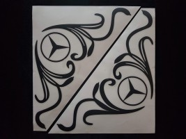 Наклейки на боковые стекла (уголки) - Mercedes, черные (h=285 мм, l=330 мм) Украина