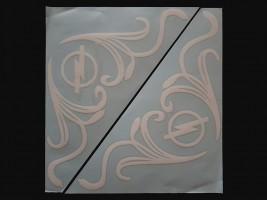 Наклейки на боковые стекла (уголки) - Opel, белые (h=285 мм, l=330 мм)