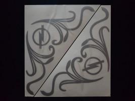 Наклейки на боковые стекла (уголки) - Opel, серебро (h=285 мм, l=330 мм)