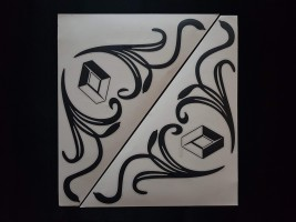 Наклейки на боковые стекла (уголки) - Renault, черные (h=285 мм, l=330 мм)