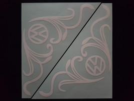 Наклейки на боковые стекла (уголки) - Volkswagen, белые (h=285 мм, l=330 мм)