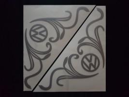 Наклейки на боковые стекла (уголки) - Volkswagen, серебро (h=285 мм, l=330 мм)