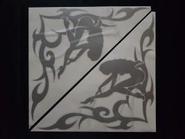 Наклейки на боковые стекла (уголки) - Девушка, серебро (h=285 мм, l=330 мм)