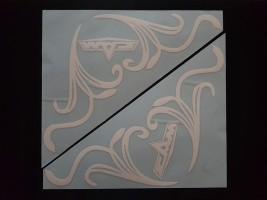 Наклейки на боковые стекла (уголки) - Маз, белые (h=285 мм, l=330 мм)