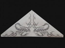 Наклейки на боковые стекла (уголки) - Скорпион, серебро (h=285 мм, l=330 мм)