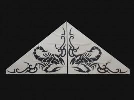 Наклейки на боковые стекла (уголки) - Скорпион, черные (h=285 мм, l=330 мм)