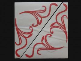 Наклейки на боковые стекла (уголки) - Узор, красные (h=285 мм, l=330 мм)