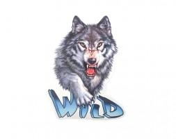Наклейка на автомобиль Звери - Волк Wild, цветная (h=455 мм, l=340 мм) Украина