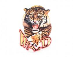 Наклейка на автомобиль Звери - Тигр Wild, цветная (h=465 мм, l=340 мм)