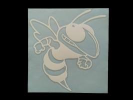 Наклейка на автомобиль Злая пчела, белая (h=170 мм, l=155 мм)