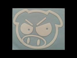 Наклейка на автомобиль Злая свинья, белая (h=170 мм, l=175 мм)