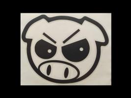 Наклейка на автомобиль Злая свинья, черная (h=170 мм, l=175 мм)