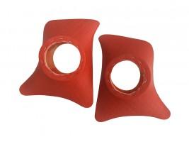 Накладки уголки передние с подиумами на 13 см ВАЗ 2101, 2102, 2103, 2104, 2105, 2106, 2107 ромб (красные)