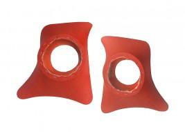 Накладки уголки передние с подиумами на 16 см ВАЗ 2101, 2102, 2103, 2104, 2105, 2106, 2107 ромб (красные)