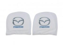 Чехол подголовника с логотипом Mazda белый (2 шт.) Украина