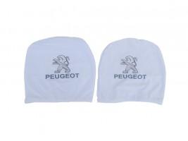 Чехол подголовника с логотипом Peugeot белый (2 шт.) Украина