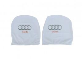 Чехол подголовника с логотипом Audi белый (2 шт.) Украина
