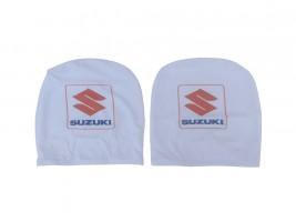 Чехол подголовника с логотипом Suzuki белый (2 шт.) Украина