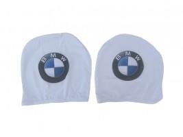 Чехол подголовника с логотипом BMW белый (2 шт.) Украина