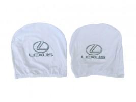Чехол подголовника с логотипом Lexus белый (2 шт.) Украина