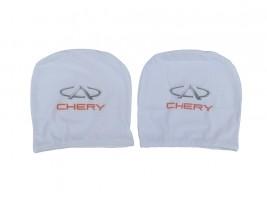 Чехол подголовника с логотипом Chery белый (2 шт.) Украина