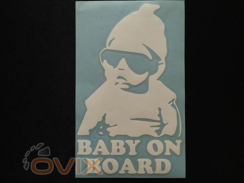Украина Наклейка на автомобиль Baby on board, белая (h=195 мм, l=120 мм) - Картинка 1