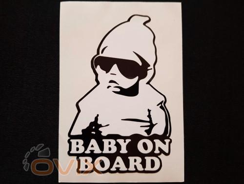 Украина Наклейка на автомобиль Baby on board, черная (h=125 мм, l=85 мм) - Картинка 1