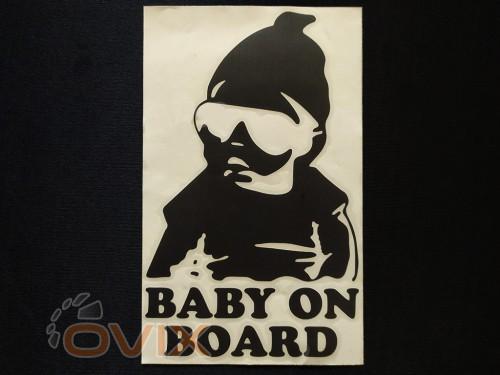 Украина Наклейка на автомобиль Baby on board, черная (h=195 мм, l=120 мм) - Картинка 1