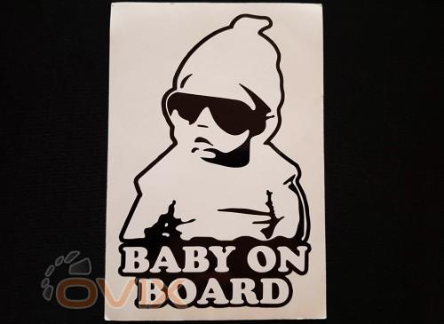 Украина Наклейка на автомобиль Baby on board, черная (h=205 мм, l=140 мм) - Картинка 1