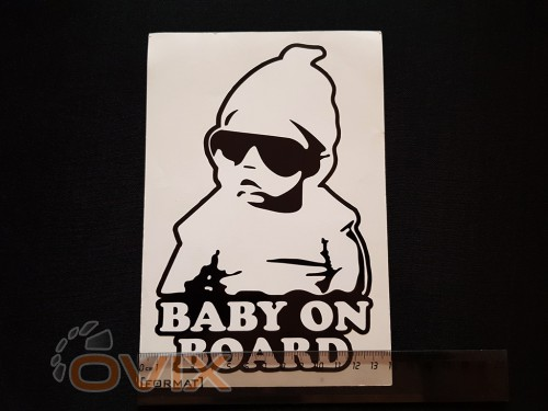 Украина Наклейка на автомобиль Baby on board, черная (h=205 мм, l=140 мм) - Картинка 4