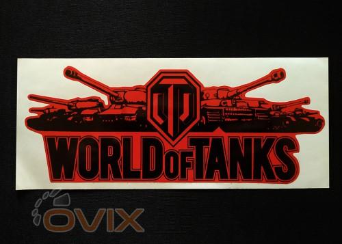 Украина Наклейка на автомобиль World of Tanks, красная (h=80 мм, l=195 мм) - Картинка 1