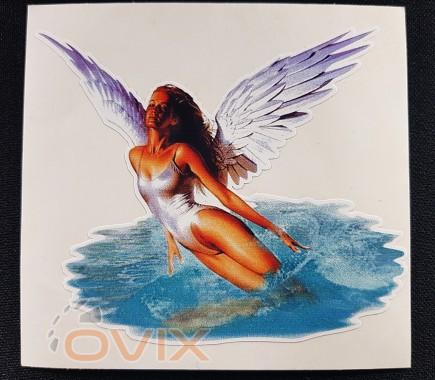 Украина Наклейка на автомобиль Ангел с крыльями, цветная (h=105 мм, l=115 мм) - Картинка 1