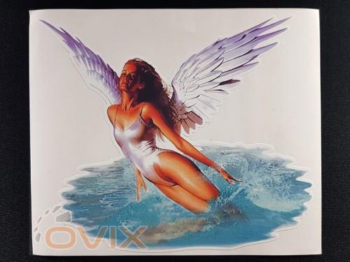Украина Наклейка на автомобиль Ангел с крыльями, цветная (h=145 мм, l=170 мм) - Картинка 1