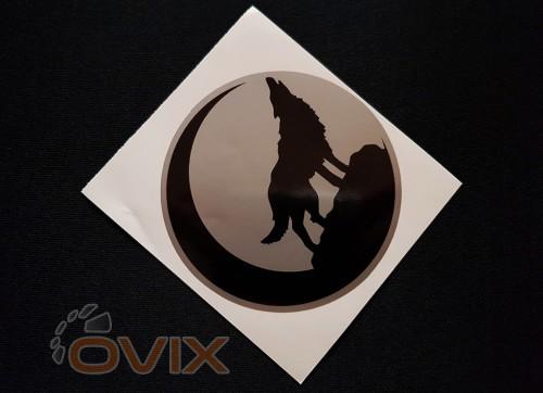 Украина Наклейка на автомобиль Воющий волк и луна, серебристо-черная (h=100 мм, l=100 мм, диаметр 90мм) - Картинка 2