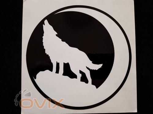 Украина Наклейка на автомобиль Воющий волк и луна, черная (h=165 мм, l=165 мм, диаметр 150мм) - Картинка 1